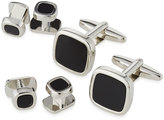 Ike Behar Square Cuff Links & Shirt Studs Set, Silvertone/Black