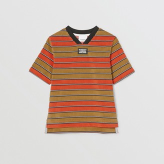 Burberry Childrens Logo Applique Striped Towelling T-shirt