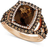 LeVian Le Vian Chocolatier® Chocolate Quartz® (2-3/4 ct. t.w.) & Diamond (9/10 ct. t.w.) Ring in 14k Rose Gold
