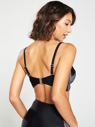 Very Shapewear Underwired Lace Panelled Bikini Top - Black