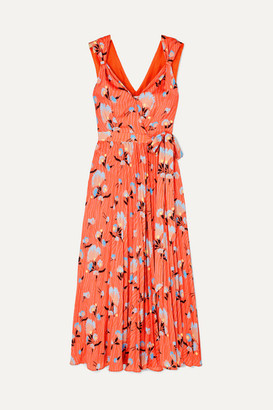 Self-Portrait Pleated Floral-print Crepe De Chine Wrap Dress - Red