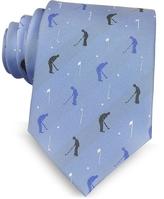 Marina D'Este Golf Player Light Blue Woven Silk Men's Tie