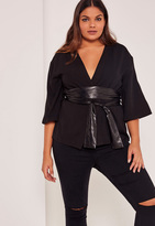 Missguided Black Plus Size Faux Leather Belted Kimono Blazer