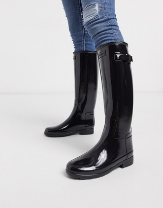 Hunter refined black gloss tall wellington boots