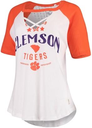 Women's Pressbox White/Orange Clemson Tigers Abbie Criss-Cross Raglan Choker T-Shirt