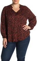 Democracy Leopard Studded Stand Collar Top (Plus Size)