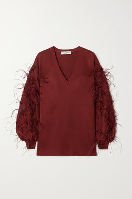 Valentino Feather-embellished Ponte Sweater - Red