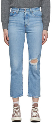Levi's Levis Blue Distressed Wedgie Straight Jeans