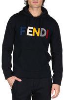Fendi Shearling-Logo Pullover Hoodie