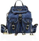 Prada Embroidered Denim Mini Backpack