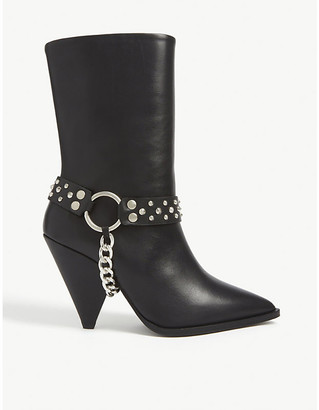 The Kooples Removable chain leather heeled boots