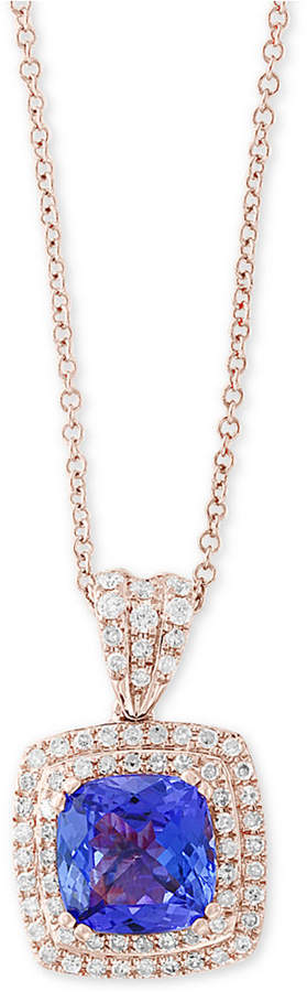 "Effy Final Call by Tazanite (2-1/4 ct. t.w.) & Diamond (3/8 ct. t.w.) 18"" Pendant Necklace in 14k Rose Gold"