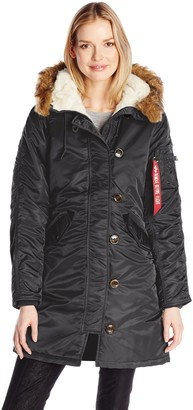 Alpha Industries Elyse Gen I Parka Made With 100% Dry Nylon for Light Weather for Women | Standard Fit - Above Hip Length - Size Medium - Black