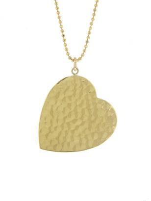 Jennifer Meyer Large Hammered Heart Necklace - Yellow Gold