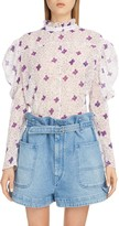 Isabel Marant Floral Puff Shoulder Cotton & Silk Blouse