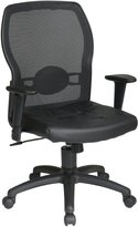 Office Star 599402 Breathable Woven Mesh Back and Leather Seat with Built-In Lumbar Support Office Chair