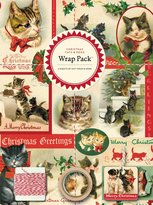 Cavallini & Co. Papers 4-Sheet Wrap Pack, Christmas Cats and Dogs
