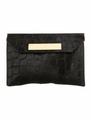 Balenciaga Ponyhair Cable Flap Clutch Black