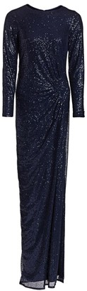 Ruched Sequin Gown