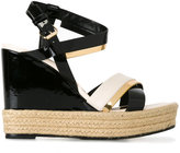 Lanvin patent wedge sandals - women - Calf Leather/Leather - 37