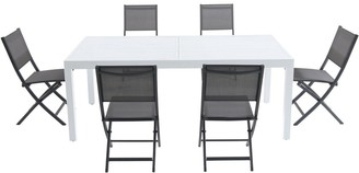 """Cambridge Silversmiths Palermo 7-Piece Outdoor Dining Set with 6 Folding Sling Chairs in Gray and a White 40"""" x 118"""" Expandable Dining Table"""