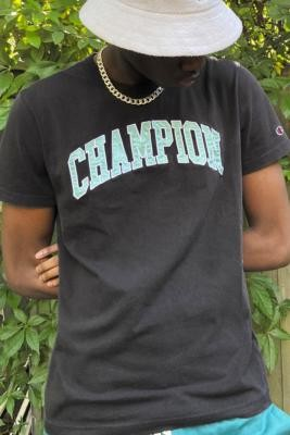 Champion UO Exclusive Washed Black College T-Shirt - Black XL at Urban Outfitters
