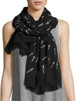 Rag & Bone Embroidered Dagger Scarf, Black