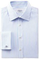 Charles Tyrwhitt Classic fit non-iron twill stripe white and sky blue shirt