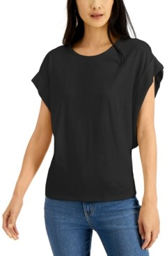 INC International Concepts Inc Rolled-Sleeve Oversize T-Shirt, Created for Macy's