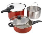Fagor Cayenne 5-Piece Stainless Steel Pressure Cooker Set in Red