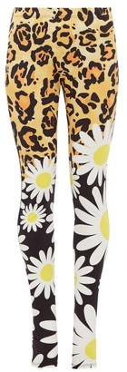 Moncler 0 Genius Richard Quinn - Leopard And Floral-print Jersey Leggings - Womens - Leopard