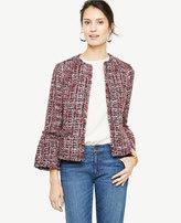Ann Taylor Fringe Tweed Ruffle Cuff Jacket