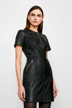 Karen Millen Leather Quilted Panelled Zip Mini Dress