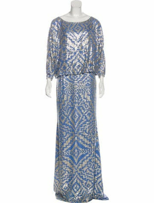 Naeem Khan Sequin Maxi Gown blue