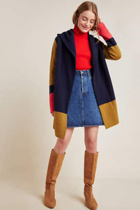 Field Flower Valerie Colorblocked Wool Sweater Coat