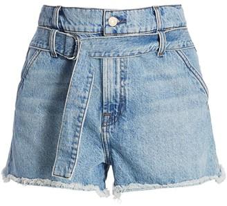7 For All Mankind High-Waist Tie-Waist Paperbag Denim Shorts