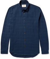 Folk - Slim-fit Windowpane-checked Slub Cotton-twill Shirt