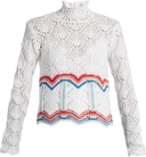 Peter Pilotto High-neck cotton-blend crochet sweater