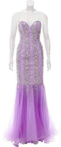 Terani Couture Embellished Evening Dress w/ Tags