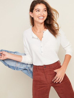 Old Navy Relaxed Cozy Waffle-Knit Henley Tunic Top for Women