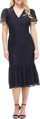 Maggy London Lace Ruffle Hem Dress