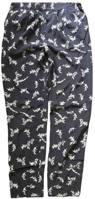 Masscob Navy Silk Trousers for Women