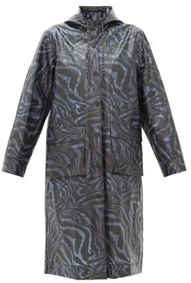 Ganni Tiger-print Bio-plastic Rain Coat - Womens - Navy