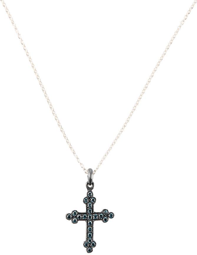 Yossi Harari Blue-Diamond Cross Chain Necklace