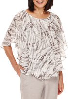 Alfred Dunner Veneto Valley Flutter-Sleeve Printed Layered Top