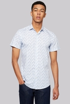 Moss Bros Extra Slim Fit Sky Short Sleeve Leaf Print Casual Shirt