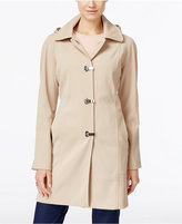 London Fog Petite Hooded Water-Resistant Clip-Front Raincoat