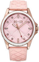 SO & CO Ny Women's Quilted Design Soho Peach Quilted Genuine Leather Strap And Peach Quilted Dial Casual Quartz Watch J159P06