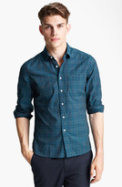 Shipley & Halmos Plaid Woven Shirt Green Pop X-Large