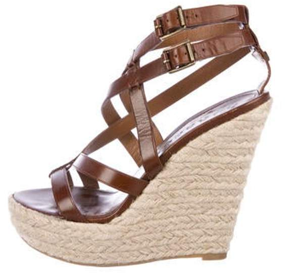 96ac930430f Leather Espadrille Wedges Brown Leather Espadrille Wedges
